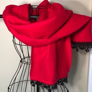 Red and black fleece wrap scarf